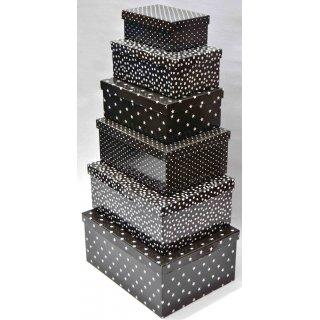 Geschenkkarton Weihnachten.6er Set Geschenkkarton Geschenkbox Weihnachten Verschiedene Grossen Schwarz Weiss Sterne Und Tupfen 30x23x14 Cm