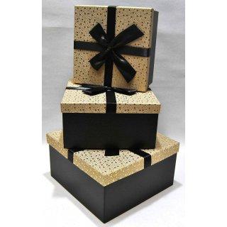 Geschenkbox Weihnachten.3er Set Edle Geschenkbox Weihnachten Gold Schwarz Mit Schleife 27x27x15 Cm
